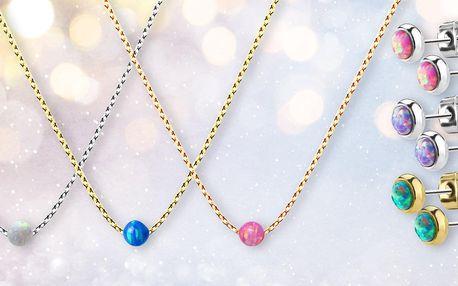 Ocelové šperky s opály: náramek, náhrdelník i náušnice