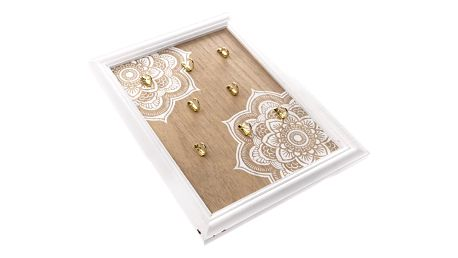 Dřevěný věšák na klíče Mandala, 8 háčků, 25 x 35 x 3,5 cm