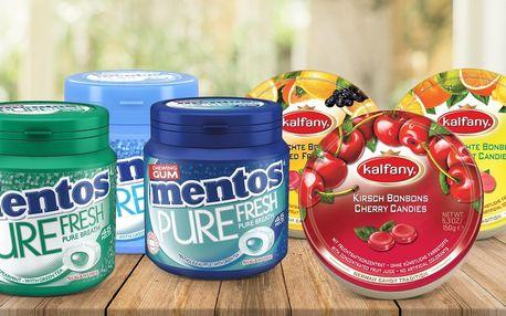 Žvýkačky Mentos nebo ovocné bonbony Kalfany