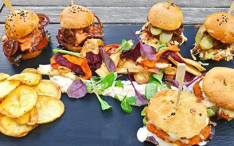3 druhy miniburgerů pro 2 osoby: s masem i vege