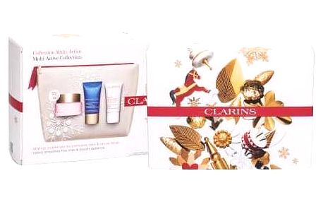 Clarins Multi-Active dárková kazeta pro ženy denní pleťová péče 50 ml + noční pleťová péče 15 ml + balzám na pleť Beauty Flash 15 ml + kosmetická taštička