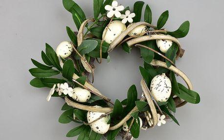 Velikonoční ratanový věnec Rosita bílá, 22 cm