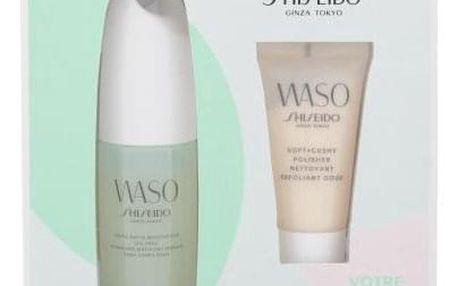 Shiseido Waso Quick Matte Moisturizer dárková kazeta pro ženy hydratační emulze Waso Quick Matte Moisturizer Oil-Free 75 ml + pleťový peeling Waso Soft+Cushy Polisher 30 ml + pleťová maska Waso Sleeping Mask 1,5 ml