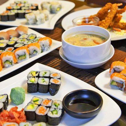 Asijské menu se sushi, salátem, polévkami i závitky