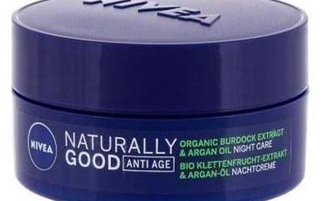 Nivea Naturally Good Organic Burdock Extract & Argan Oil 50 ml noční krém proti vráskám pro ženy