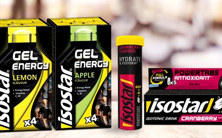 Energetické gely a tablety Isostar: 3 příchutě