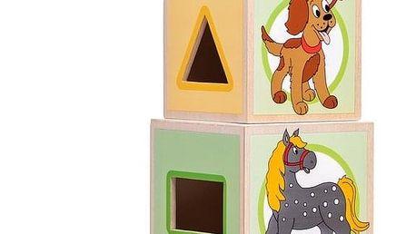 Woody Věž s pěti kostkami Zvířátka, 10,6 x 41 cm