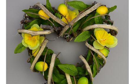 Velikonoční ratanové srdce Narcis, 22 x 23 cm