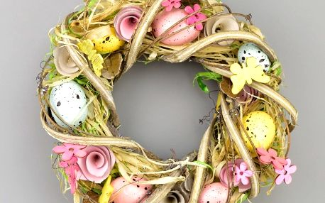 Velikonoční věnec zdobený Coloured Eggs, 22 cm