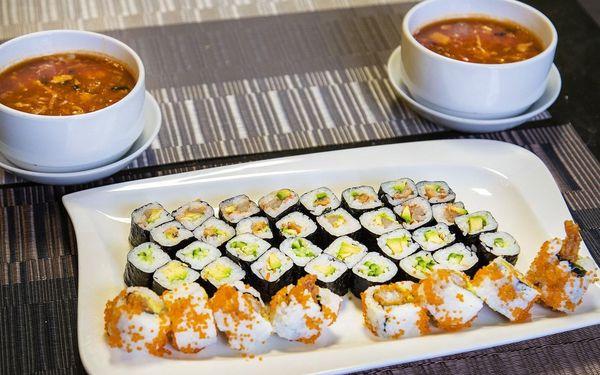 48 ks sushi + 2 polévky3