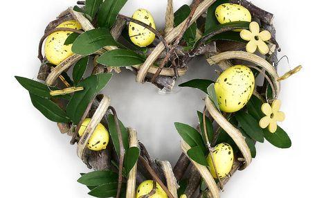 Ratanové srdce s vajíčky Rosita žlutá, 22 x 23 cm