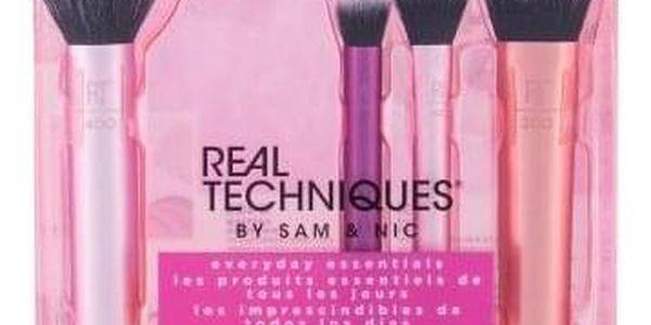 Real Techniques Brushes Everyday Essentials dárková kazeta pro ženy štětec na tvářenku 1 ks + štětec na oční stíny 1 ks + štětec na rozjasňovač 1 ks + štětec na make-up 1 ks + houbička na make-up 1 ks