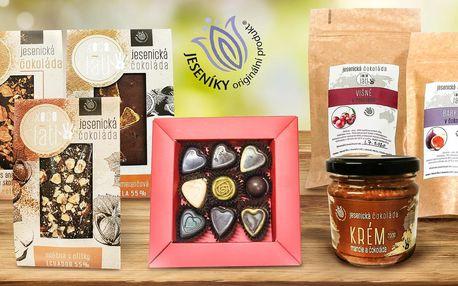 S láskou z Jeseníků: balíčky čokolád a čoko krémů