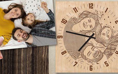 Originální dřevěné hodiny z vaší fotografie