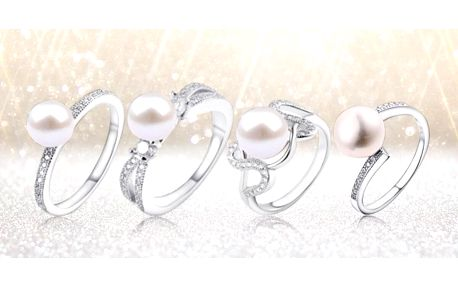 Stříbrné prsteny s pravou říční perlou a zirkony