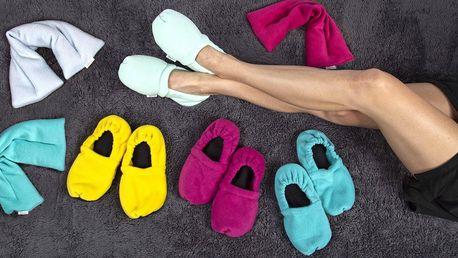 Nahřívací papuče a polštářky s levandulí i v setu