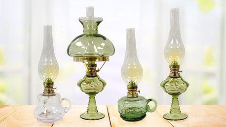 Petrolejové lampy z Floriánovy hutě: zelené i růžové