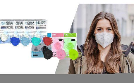 Barevné nebo bílé respirátory FFP2 bez výdechového filtru