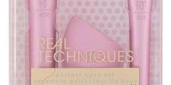 Real Techniques Perfect Base Set dárková kazeta pro ženy kosmetický štětec Powder RT 201 + kosmetický štětec Blurring Concealer RT 223 + houbička na make-up Miracle Complexion Sponge