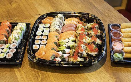 Sety 14–68 kousků sushi a k nim minizávitky