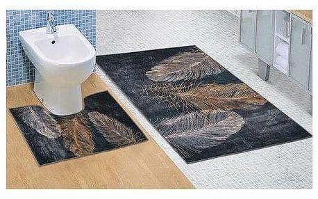 Bellatex Sada koupelnových předložek Pírko 3D, 60 x 100 cm, 60 x 50 cm