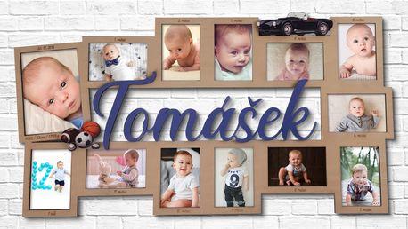 Můj první rok: 12 rámečků na fotky a jméno dítěte