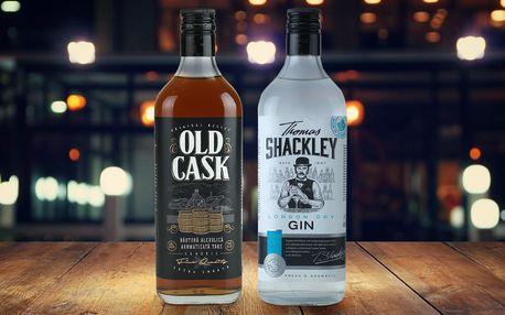500 ml whisky Old Cask či ginu Thomas Shackley