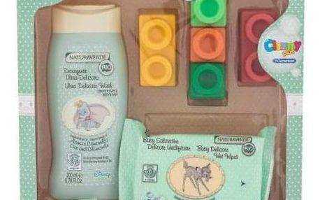 Naturaverde Baby dárková kazeta pro děti sprchový gel Ultra Delicate Wash 200 ml + čisticí ubrousky Baby Delicate Wet Wipes 20 ks + barevné kostky 5 ks