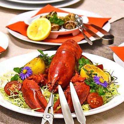 Pětichodové menu s krevetami a humrem pro dva