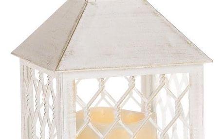 Lucerna s LED svíčkou Rigel, bílá, 10,5 x 23,5 x 10,5 cm