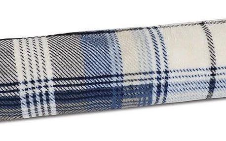 Bellatex Ozdobný těsnicí polštář LIN UNI Kostky modrá, 90 x 15 cm