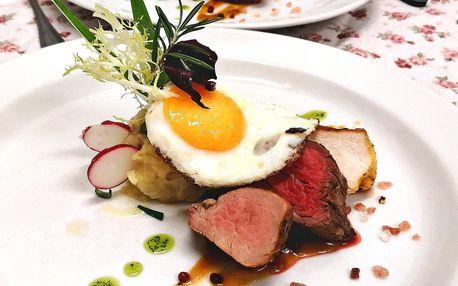 Pětichodové menu pro dva: lososový tatarák a steaky