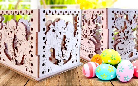 Velikonoční dekorace ze dřeva s gravírovanými motivy