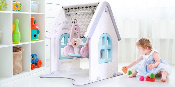 2 v 1: dětský umělohmotný domeček a houpačka
