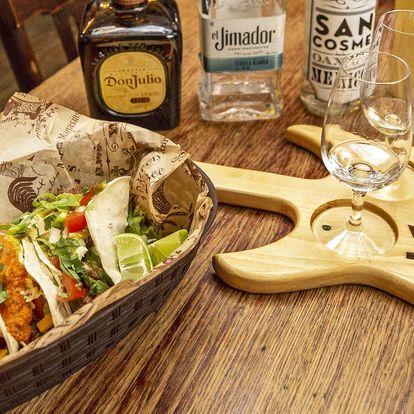 Tři druhy tacos a ochutnávka tequily pro 1 i 2 osoby