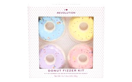 I Heart Revolution Bath Fizzer Donut Set set koupelových bomb pro ženy koupelová bomba 40 g + koupelová bomba 40 g Lavender + koupelová bomba 40 g Banana + koupelová bomba 40 g Strawberry Blueberry