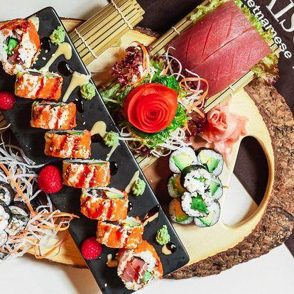 Sushi sety s 26 až 45 rolkami i plátky ryb sashimi