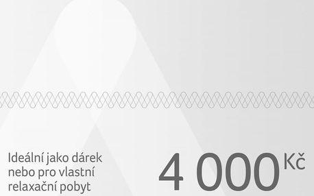 Dárkový poukaz na pobyt v ČR i zahraničí v hodnotě 4 000 Kč Dárkovy poukaz