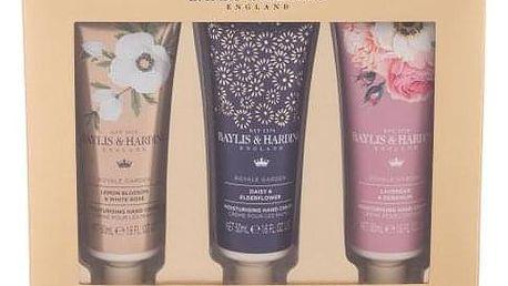 Baylis & Harding Royale Garden Luxury Hand Cream dárková kazeta pro ženy krém na ruce Royal Garden Lemon Blossom & White Rose 50 ml + krém na ruce Royal Garden Daisy & Elderflower 50 ml + krém na ruce Royal Garden Lavender & Geranium 50 ml