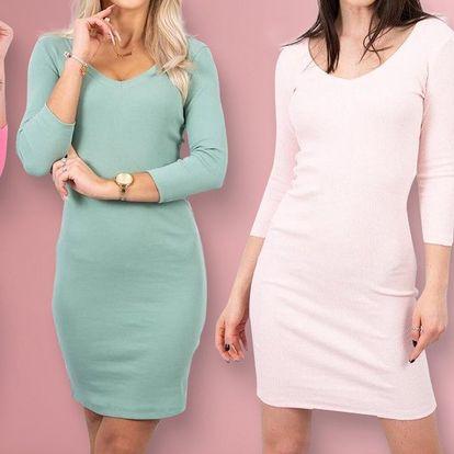Bavlněné dámské šaty v 19 barvách a s dekoltem do V