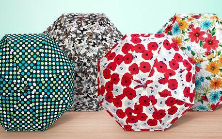 Skládací minideštníky s barevnými motivy
