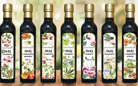 Za studena lisované oleje: mák, sezam, konopí aj.