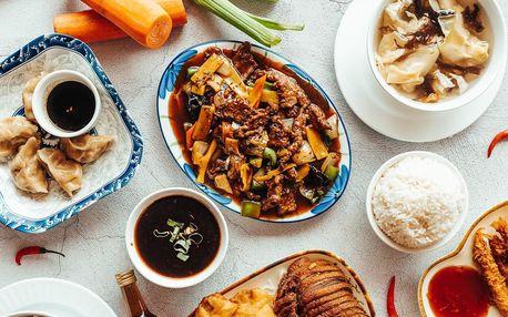 Tradiční čínské menu pro 2–4: hovězí, krevety i kuře