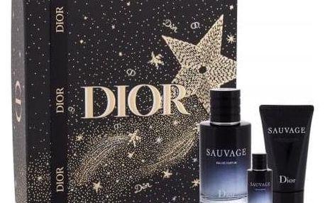 Christian Dior Sauvage dárková kazeta pro muže parfémovaná voda 100 ml + parfémovaná voda 10 ml + balzám po holení 50 ml