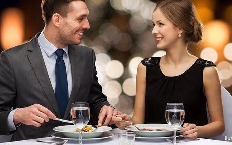Tříchodové menu pro pár: dva druhy masa i dezert