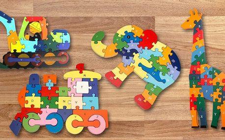 Barevné dřevěné puzzle pro děti od 3 let