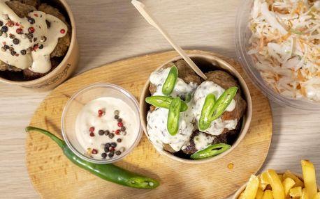 Masové koule, hranolky a coleslaw pro 1 nebo 2 osoby