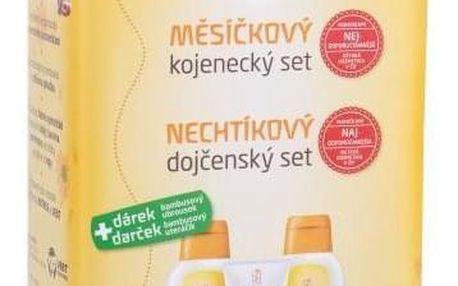 Weleda Baby Calendula Oil Set dárková kazeta pro děti kojenecký olej 200 ml + kojenecký krém na opruzeniny 75 ml + kojenecká koupel 200 ml + bambusový ubrousek + plechová dóza