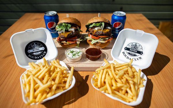 Bouda burger, hranolky, dip a nápoj pro 1 osobu5