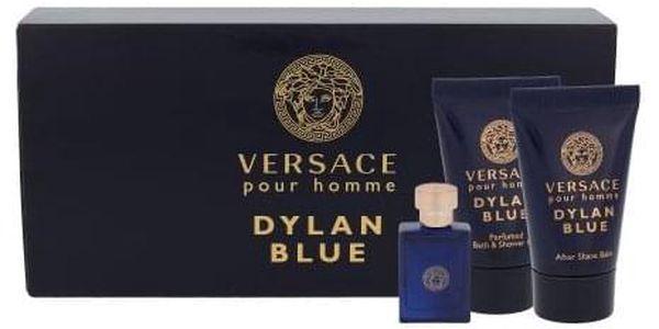 Versace Pour Homme Dylan Blue dárková kazeta pro muže toaletní voda 5 ml + sprchový gel 25 ml + balzám po holení 25 ml miniatura